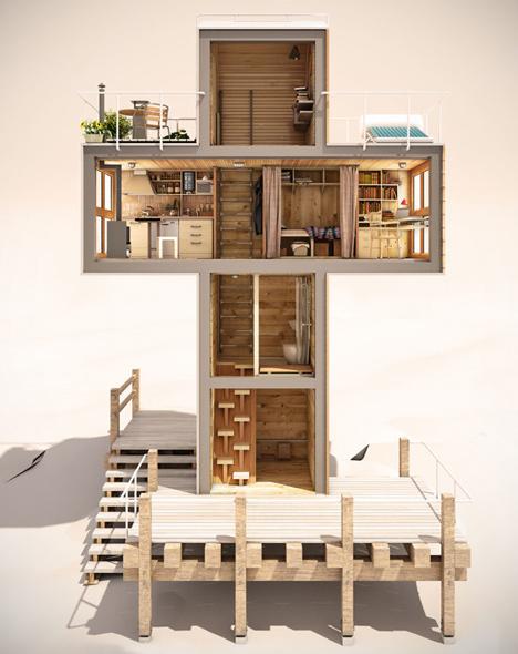 Casa Container Em Forma De Cruz Singola Presentes Criativos