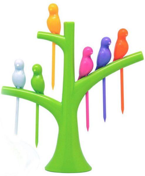 Jogo Suporte Árvore Com 6 Espetinhos Para Petiscos